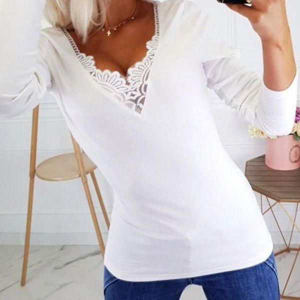 Solid Lace Patchwork Long Sleeve Casual Blouse 2