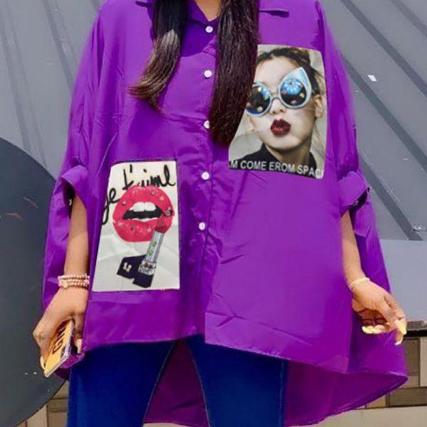 Print Patch Design Dip Hem Shirt 2