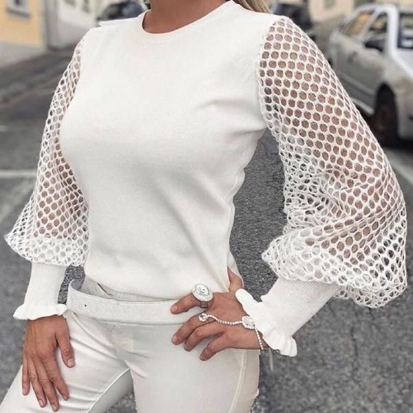 Solid Fishnet Long Sleeve Top 2