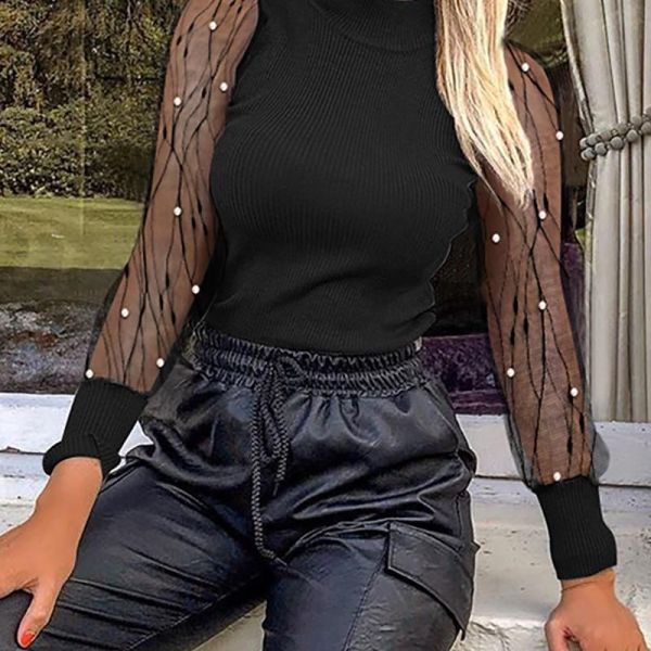 Solid Mesh Patchwork See Through Beaded Detail Blouse 2