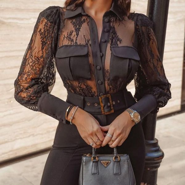 Mesh Lace Detail Button-Up Blouse 2