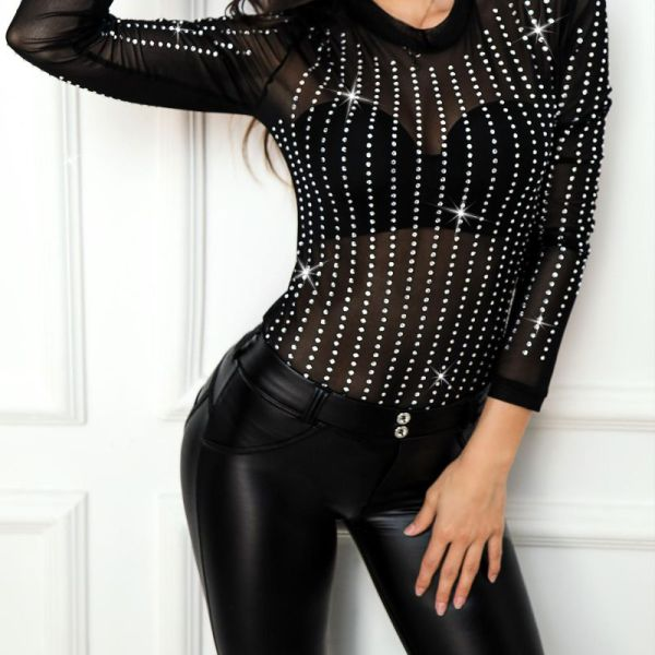 Semi Sheer Mesh Sequins Blouse 2