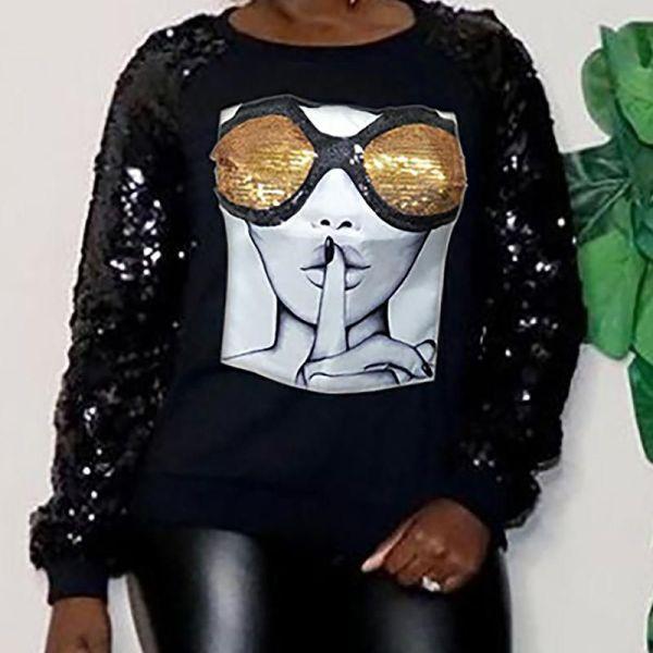 Sequins Sleeve Print Round Neck Blouse 2