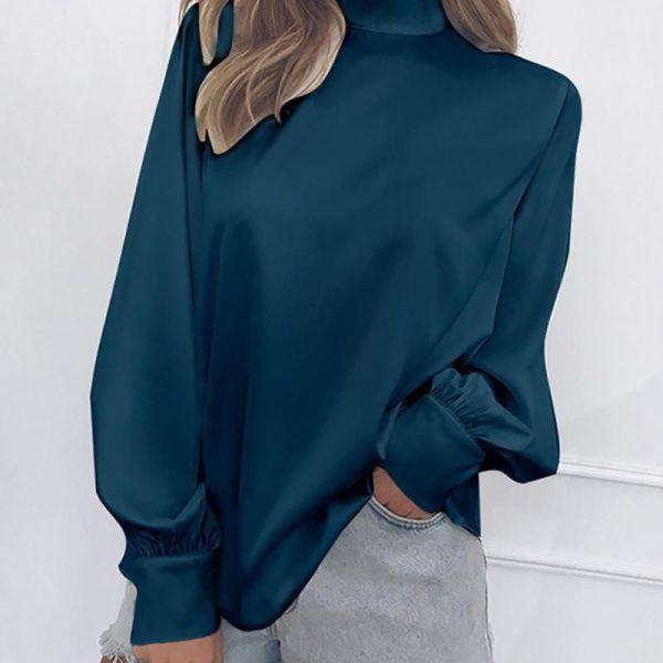 Loose High Neck Long Lantern Sleeve Shirt 2