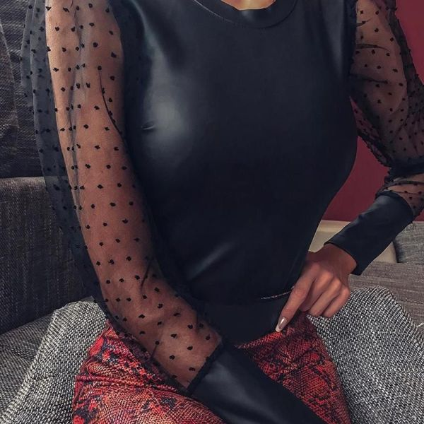 Faux Leather Dot Mesh Puffed Sleeve Blouse 2