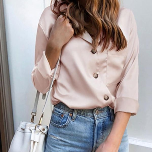 Solid Long Sleeve Buttoned Casual Shirt 2