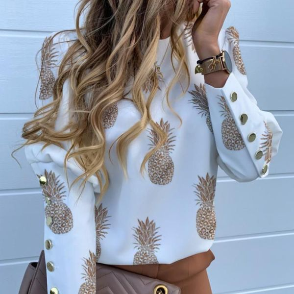 Pineapple Print Metal Buttoned Detail Casual Blouse 2