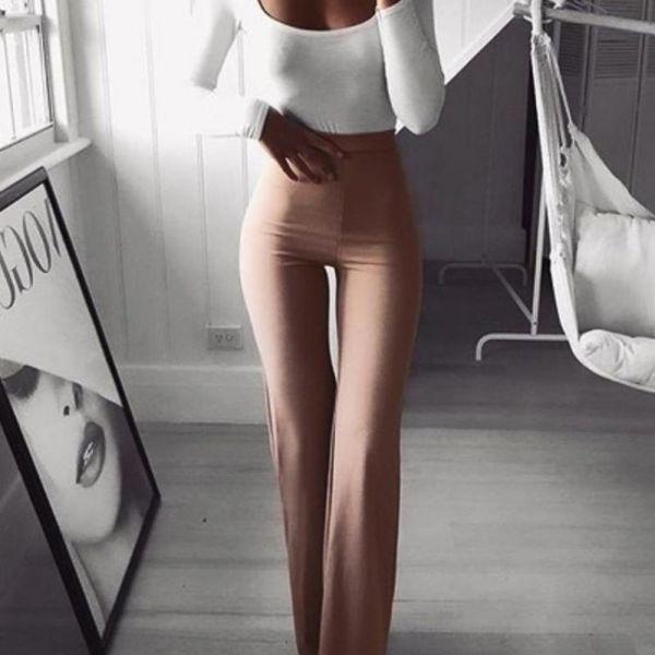 Solid High Waist Bell-Bottom Pants 2