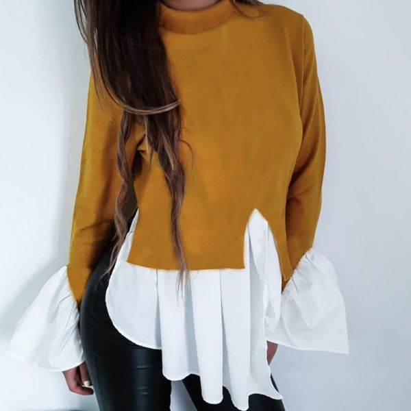 Colorblock Insert Ruffles Long Sleeve Blouse 2