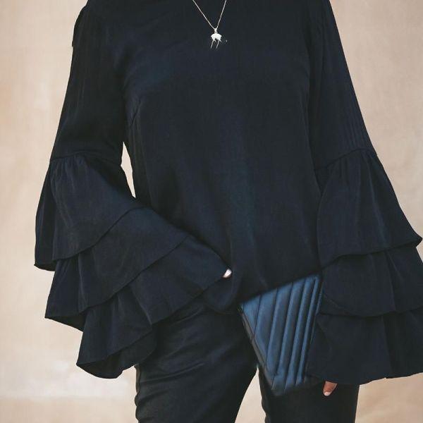 Lace Stitching Open Back Blouse 2