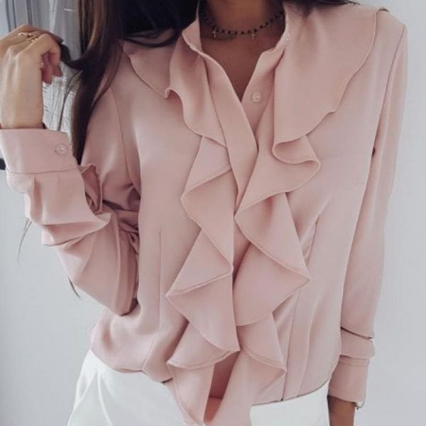 Solid Ruffles Design Long Sleeve Casual Blouse 2