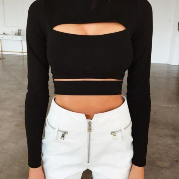 Solid Long Sleeve Cut Out Crop Top 2