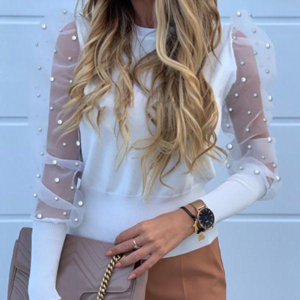 Beaded Design Puffed Sleeve Blouse 2