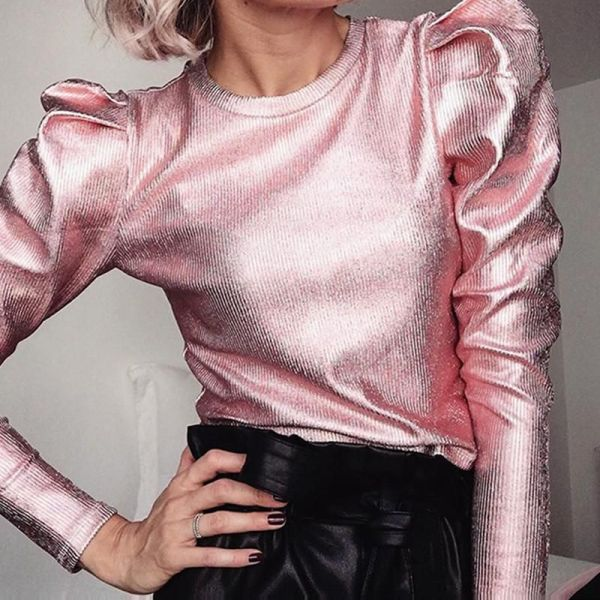 Metallic Color Puff Sleeve Top 2
