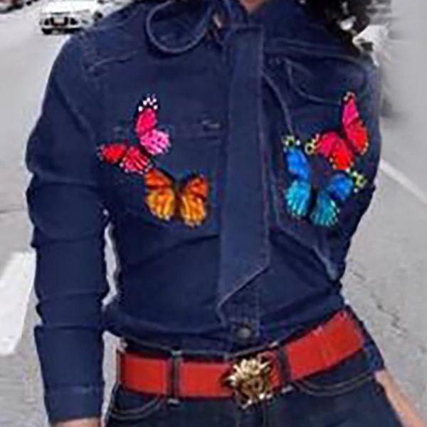 Denim Butterfly Print Tie Neck Shirt 2