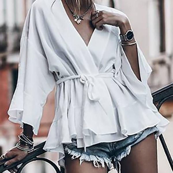 Solid Tied Waist Bell Sleeve Blouse 2