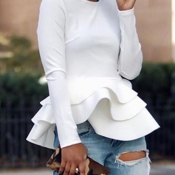 Solid Long Sleeve Layered Ruffles Blouse 2