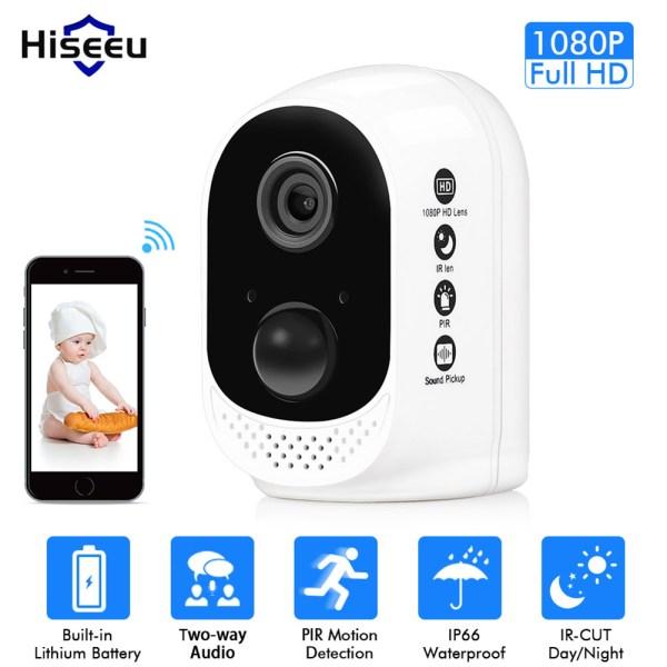 Hiseeu Wifi Battery Security IP Camera 1080P Rechargeable Battery PIR Alarm HD Wireless Home CCTV Camera 2