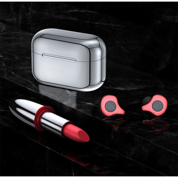 Sabbat E12 TWS Wireless Bluetooth Headphones 5.0 Auto-Pairing In-ear Sports Headset - Red+Silver Plated Charging Pin 2