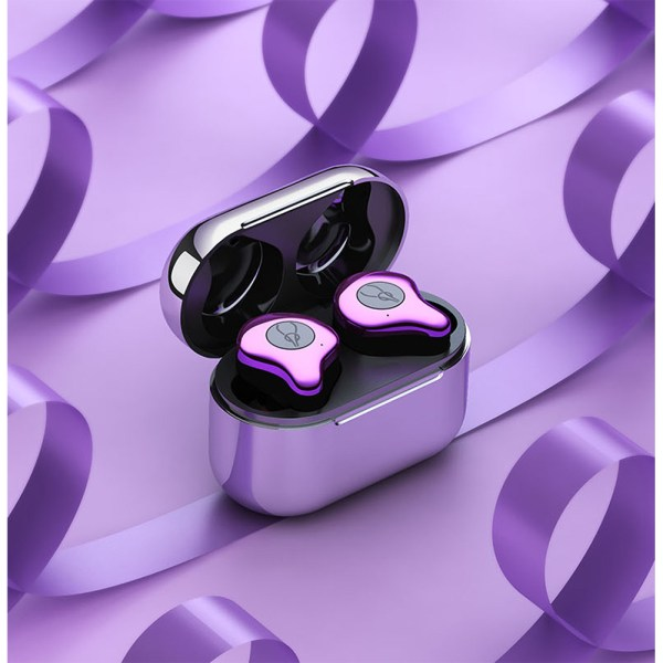 Sabbat E12 TWS Wireless Bluetooth Headphones 5.0 Auto-Pairing In-ear Sports Headset - Purple+Silver Plated Charging Pin 2