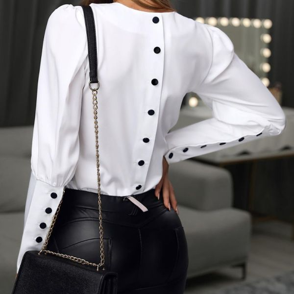 Solid Puff Sleeve Buttoned Design Shirt 2