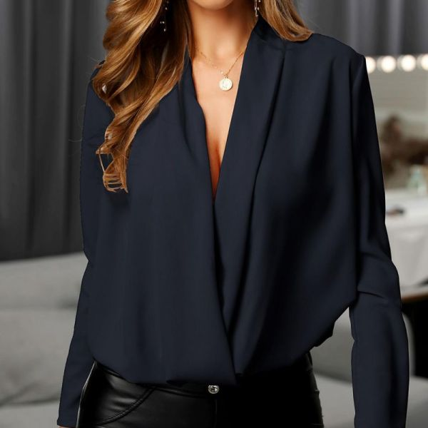 Solid Cowl Neck Long Sleeve Ruched Casual Blouse 2