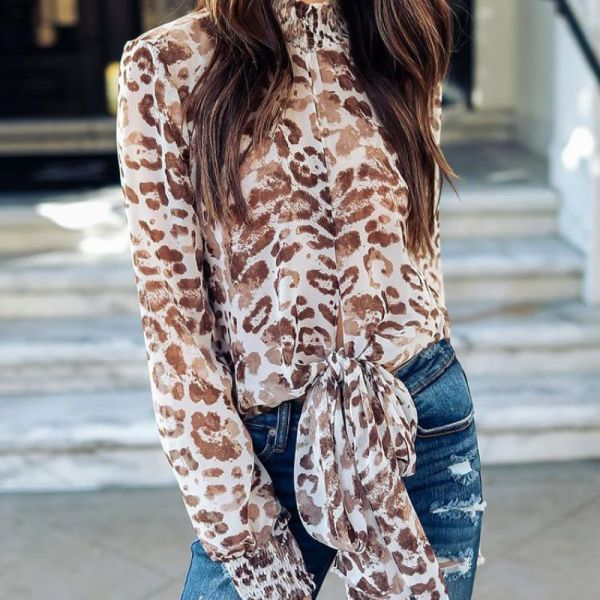 Leopard Print Bowknot Casual Blouse 2