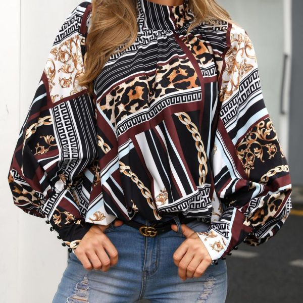 Mixed Print Buttoned Cuff Casual Blouse 2