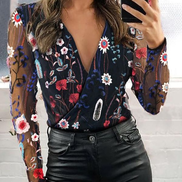 Sheer Mesh Floral Embroidery Blouse 2