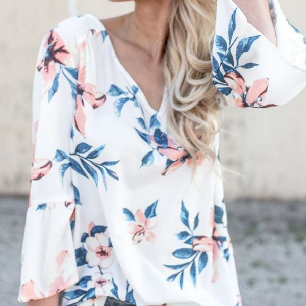 V Neck Floral Print Casual Chiffon Blouses 2