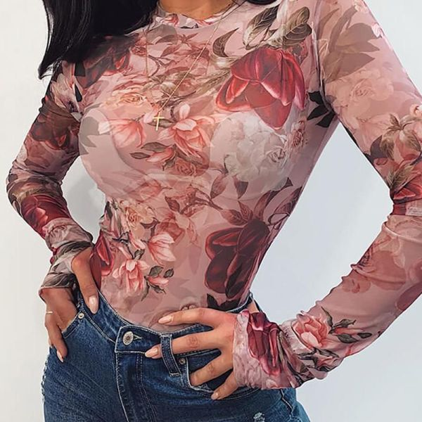 Round Neck Floral Print Long Sleeve Blouse 2