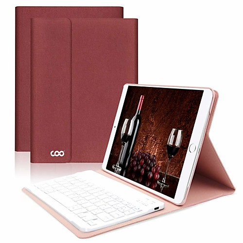 Case For Apple iPad Air / iPad (2018) / iPad Air 2 Shockproof / Dustproof / with Keyboard Full Body Cases Solid Colored PU Leather / iPad (2017) 2