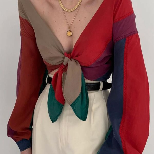 V-Neck Tie Contrast Color Blouse 2