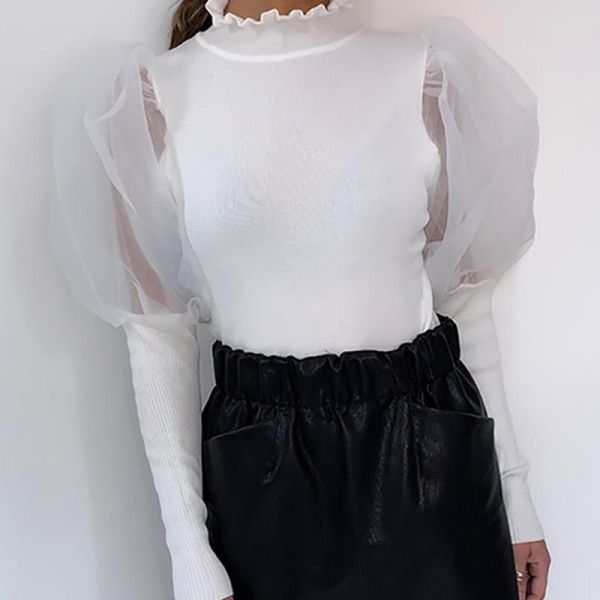 Solid Patchwork Mesh Puff Sleeve Blouse 2