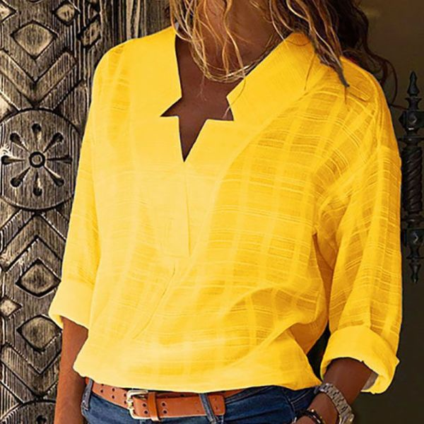 V-Neck Long Sleeve Casual Shirt 2