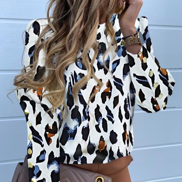Abstract Leopard Print Long Sleeve Popper Cuff Blouse 2