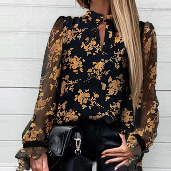 Floral Tied Neck Casual Blouse 2