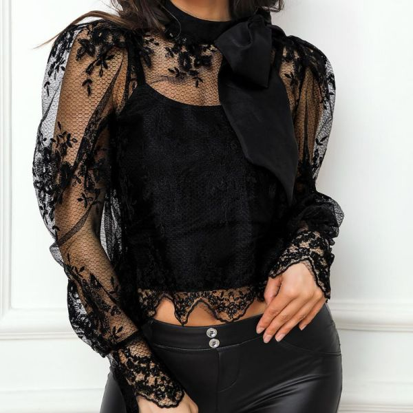 Long Sleeve Embroidery Mesh Top 2