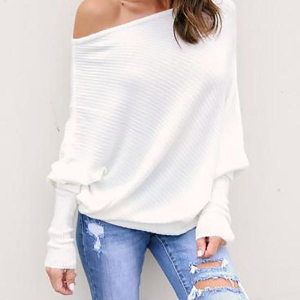 White Skew Neck Batwing Sleeve Casual Blouse 2