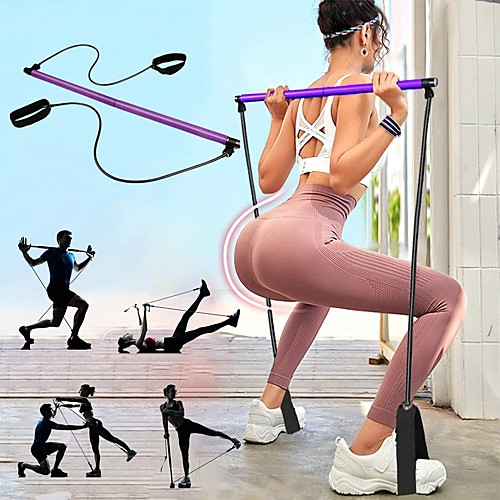 Pilates Resistance Band and Toning Bar Pilates Exercise Stick Sports Latex Nylon Foam Home Workout Yoga Pilates Portable Adjustable Removable Muscle Building Weight Loss Full Body Toning For Men Women 2