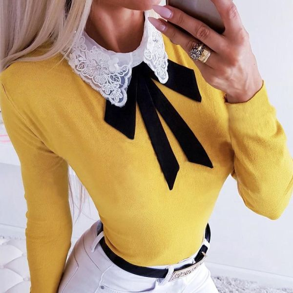Crochet Lace Insert Bowknot Long Sleeve Blouse 2