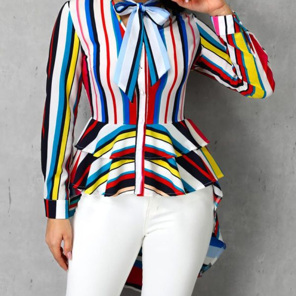 Colorful Striped Ruffles Tied Neck Dip Hem Blouse 2