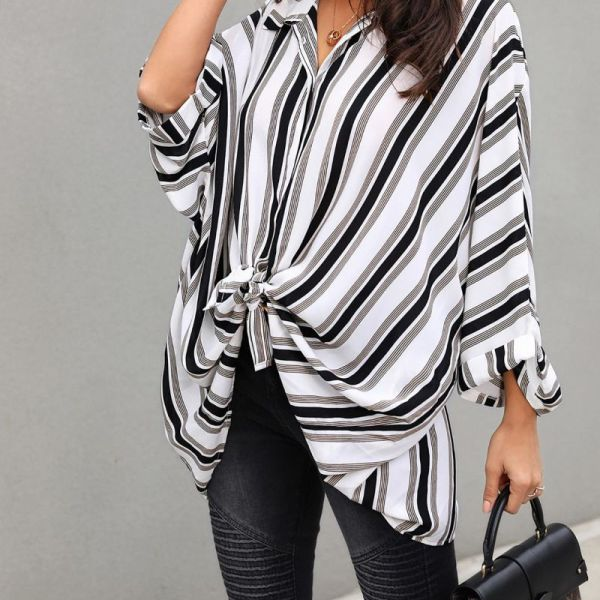 Stripes Bat-Wing Sleeve Slit Back Blouse 2