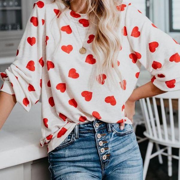 Heart Pattern Long Sleeve Loose Blouse 2