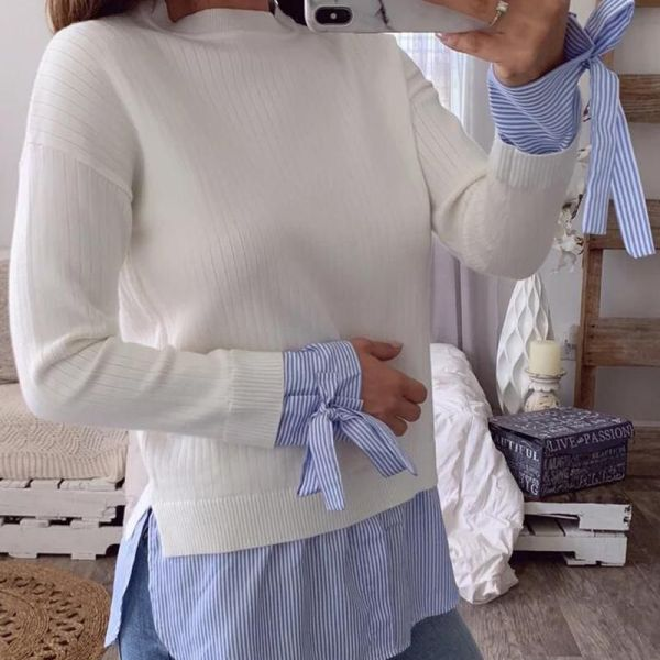 Bowknot Design Patchwork Ribbed Blouse 2