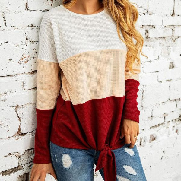 Colorblock Long Sleeve Knotted Casual Blouse 2