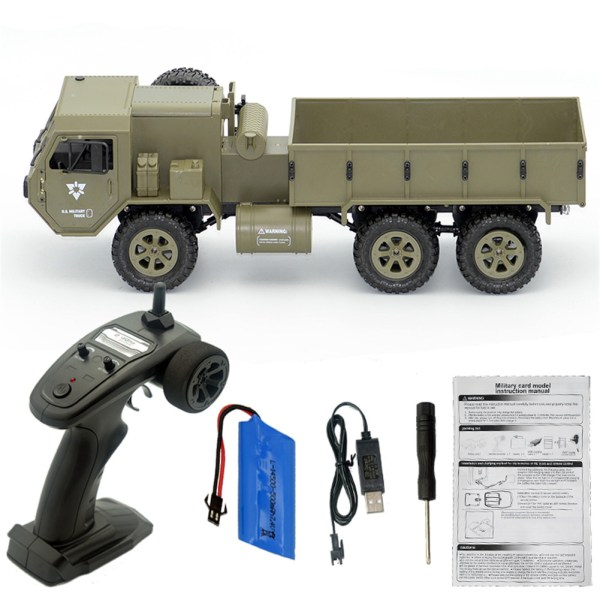 Fayee FY004A 1/16 2.4G 6WD Rc Car Proportional Control US Army Military Truck RTR Model Toys Without a single camera+1 battery_1:16 2