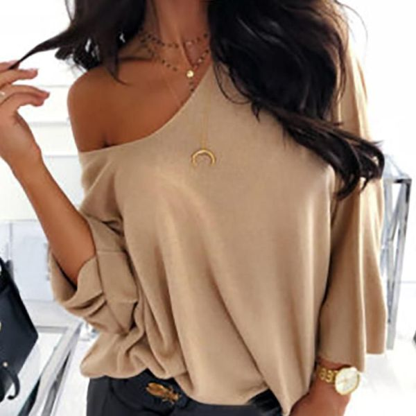 Solid Round Neck Long Sleeve Casual Blouse 2