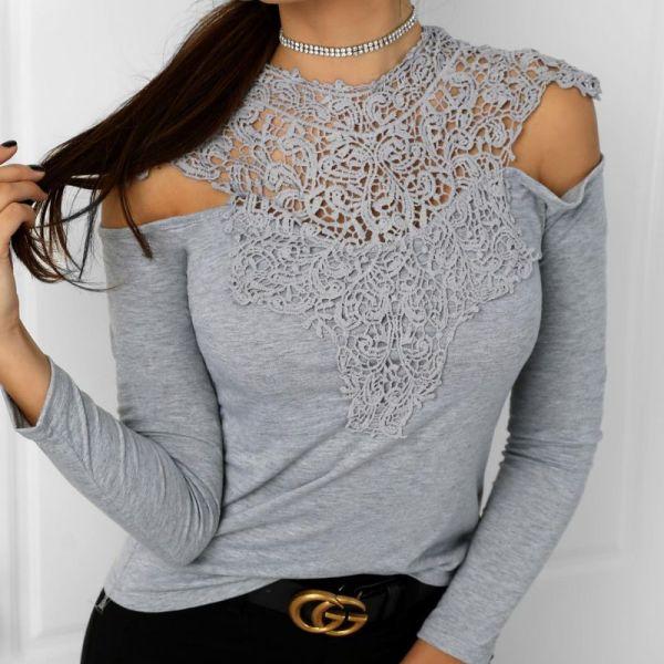 Appliqued Lace Cold Shoulder Blouse 2