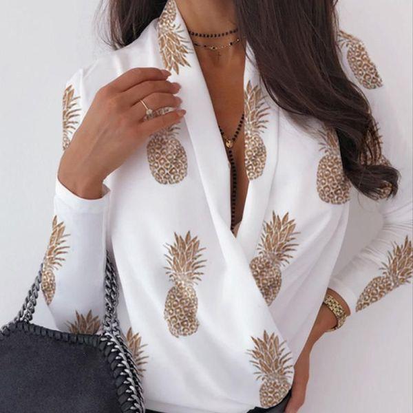 V Neck Surplice Wrap Pineapple Print Long Sleeve Blouse 2